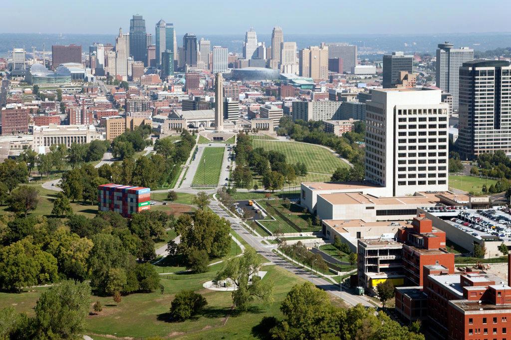 Aerial view of Penn Valley Park near downtown Kansas City, Missouri, USA : Stock Photo