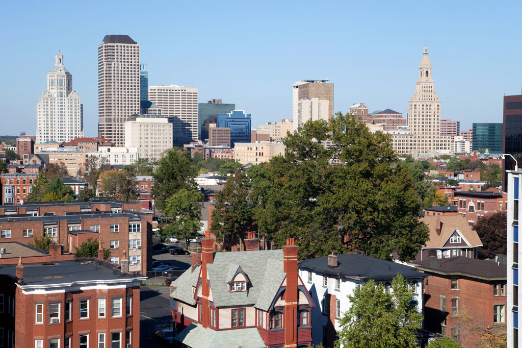 Stock Photo: 4017-2541 Buildings in a city, South End, Hartford, Connecticut, USA