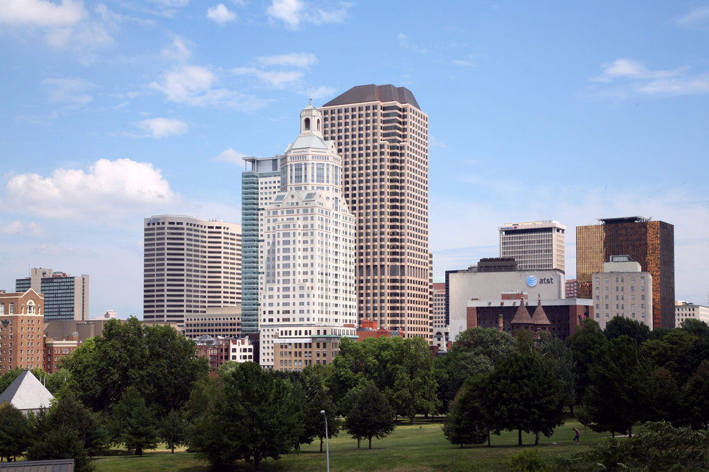 Buildings in a city, Bushnell Park, Hartford, Connecticut, USA : Stock Photo