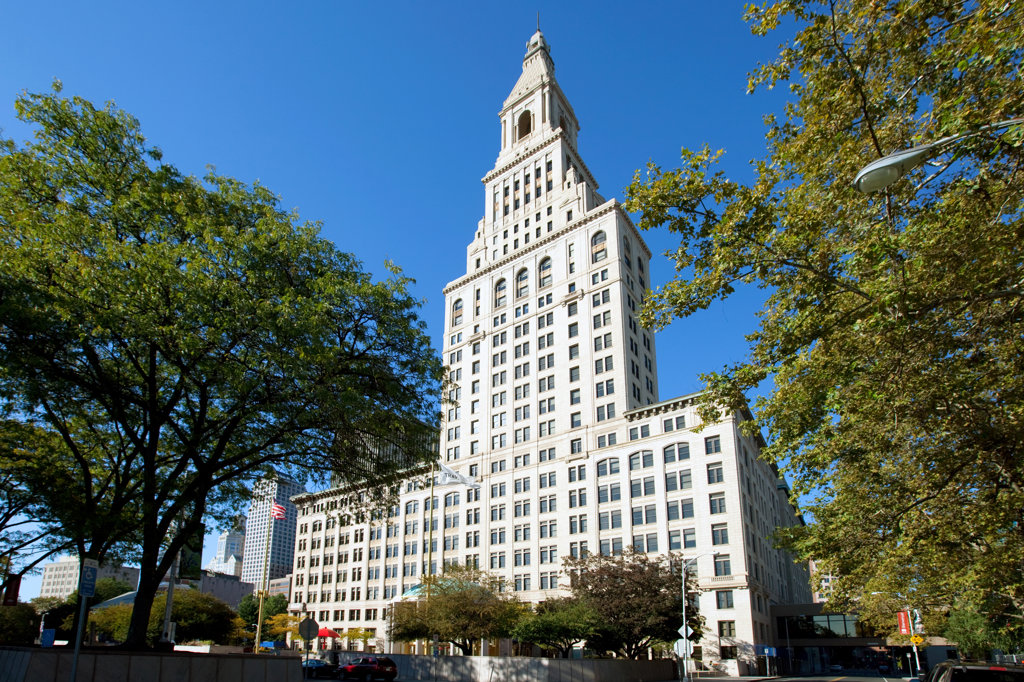Low angle view of a building, Travelers Tower, Main Street Historic District No. 2, Hartford, Connecticut, USA : Stock Photo