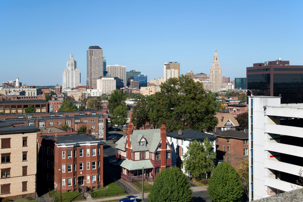 Buildings in a city, Hartford Hospital, South End, Hartford, Connecticut, USA : Stock Photo