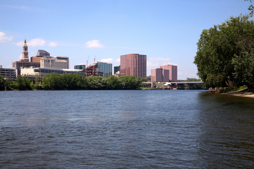 Buildings at the waterfront, Connecticut River, Hartford, Connecticut, USA : Stock Photo