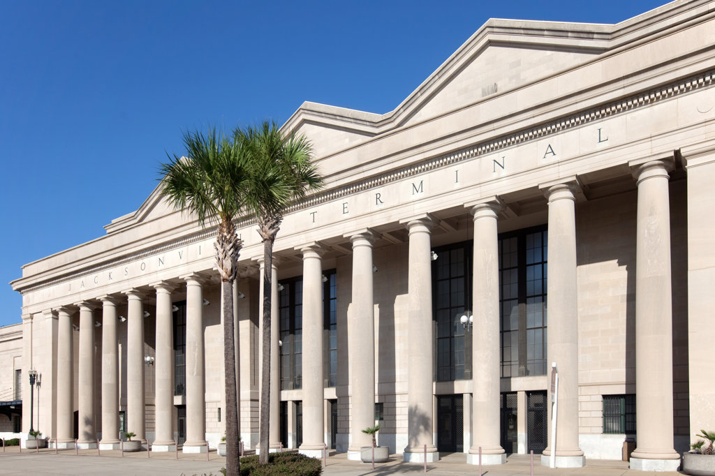 Stock Photo: 4017-2585 Facade of a train station, Jacksonville Terminal, Prime F. Osborn III Convention Center, Jacksonville, Florida, USA