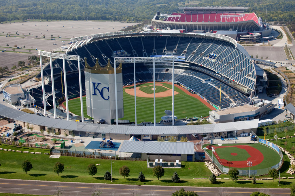 Aerial view of Kauffman Stadium and Arrowhead Stadium at the Truman Sports Complex in Kansas City, Missouri, USA : Stock Photo
