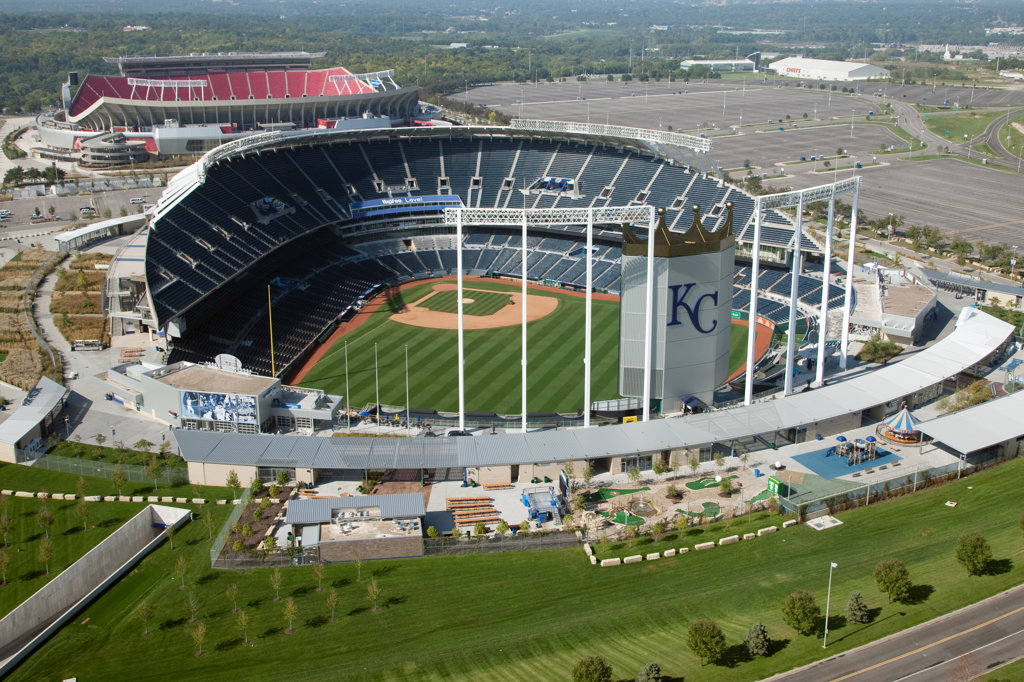Stock Photo: 4017-2640 Aerial view of Kauffman Stadium and Arrowhead Stadium at the Truman Sports Complex in Kansas City, Missouri, USA