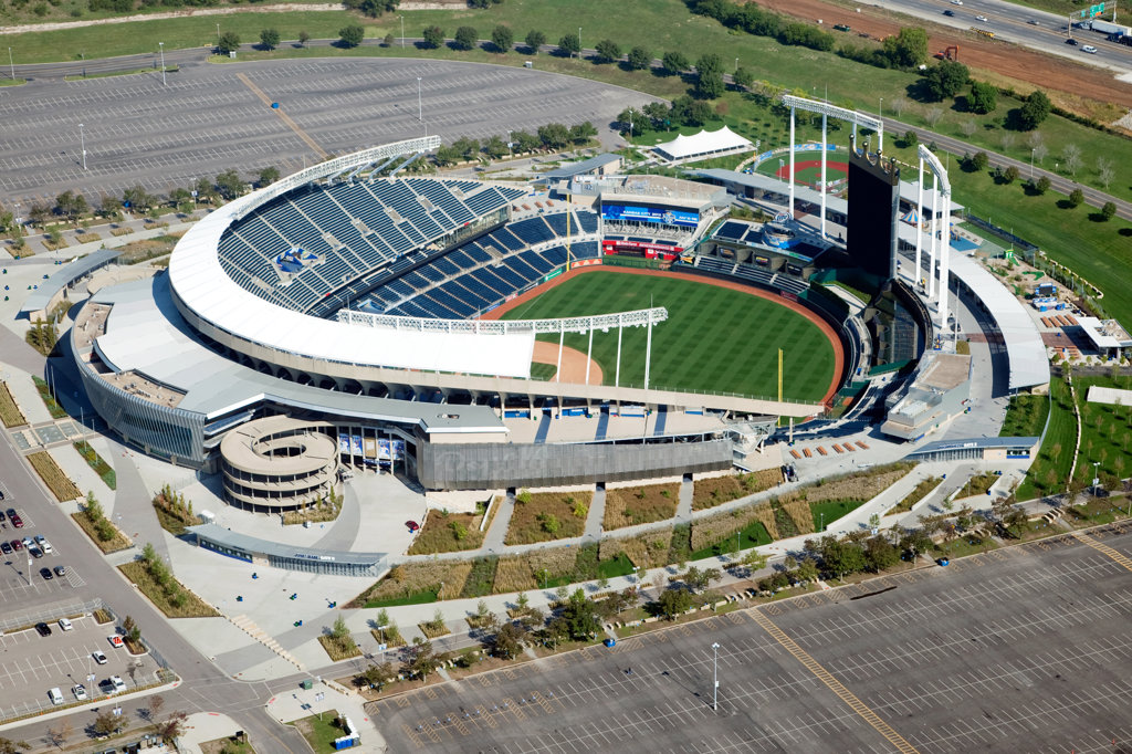 Aerial view of Kauffman Stadium, home of the major league baseball Royals in Kansas City, Missouri, USA : Stock Photo