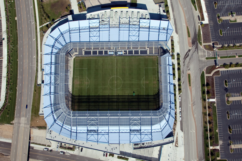 Aerial view of Livestrong Sporting Park, home of the Major League Soccer team Sporting Kansas City in Kansas City, Missouri, USA : Stock Photo