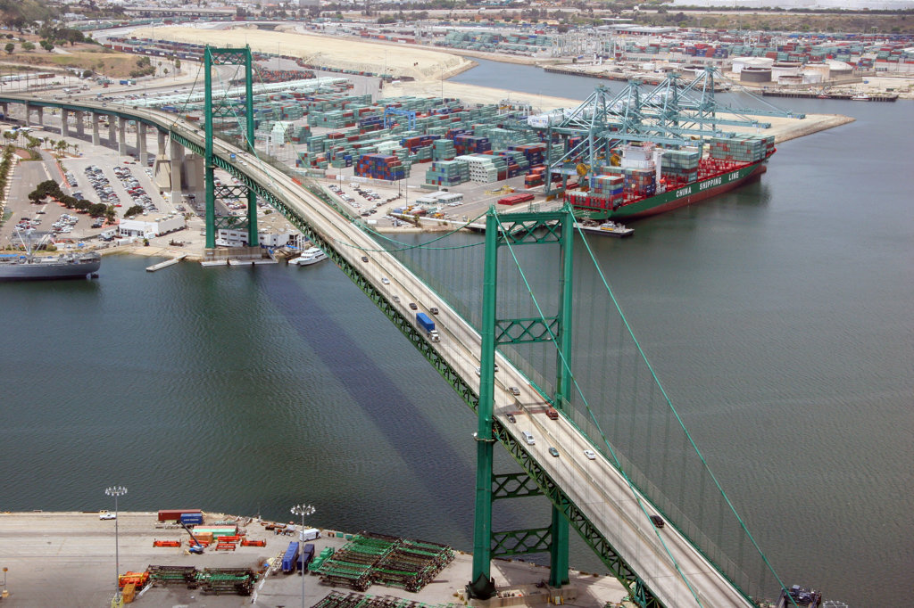 Stock Photo: 4017-2685 Bridge at a harbor, Vincent Thomas Bridge, Los Angeles Harbor, Los Angeles County, California, USA