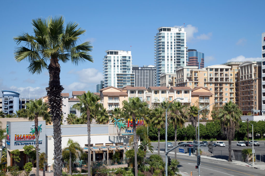 Skyscrapers in a city, The Pike, Rainbow Harbor, Long Beach, Los Angeles County, California, USA : Stock Photo