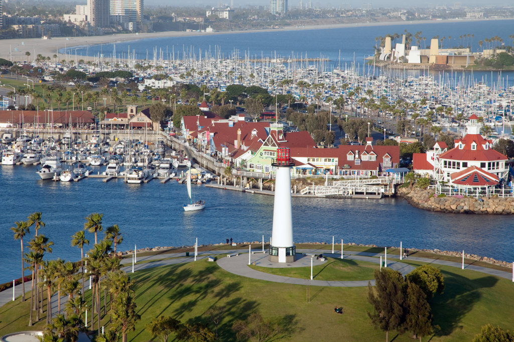 Stock Photo: 4017-2690 Lighthouse on the coast, Aquatic Park, Long Beach, Los Angeles River, Los Angeles County, California, USA