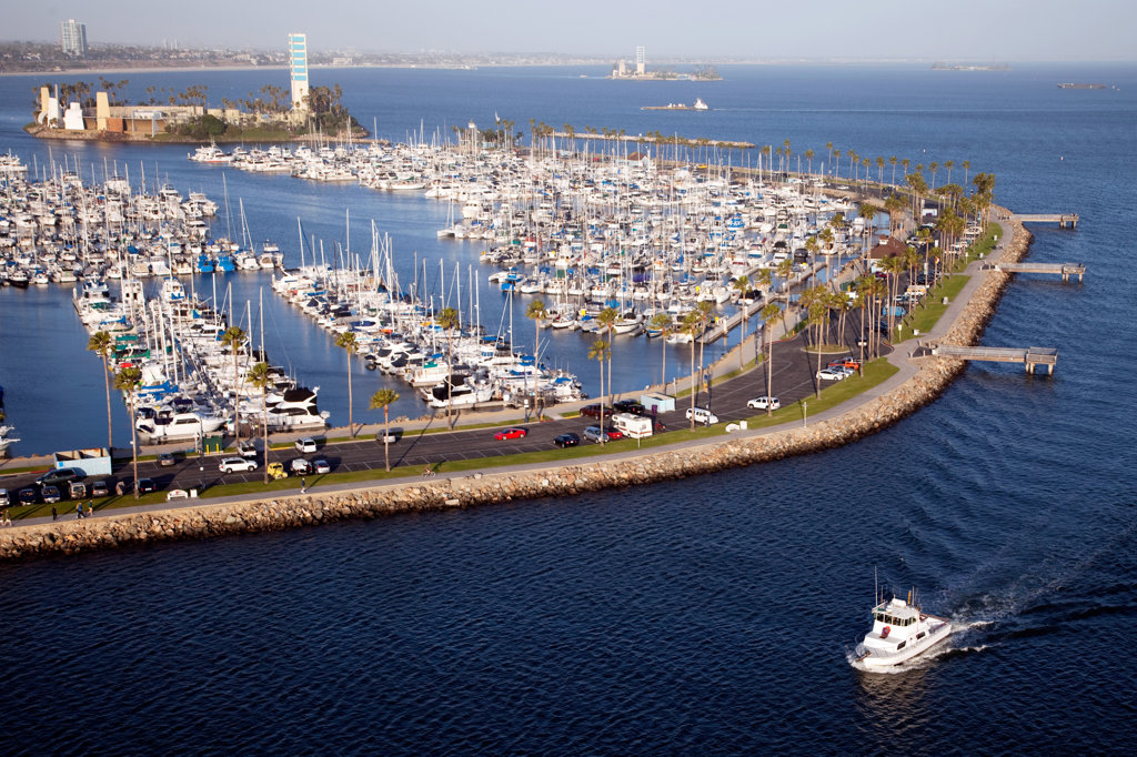 Stock Photo: 4017-2699 Aerial view of a harbor, Long Beach, Los Angeles County, California, USA
