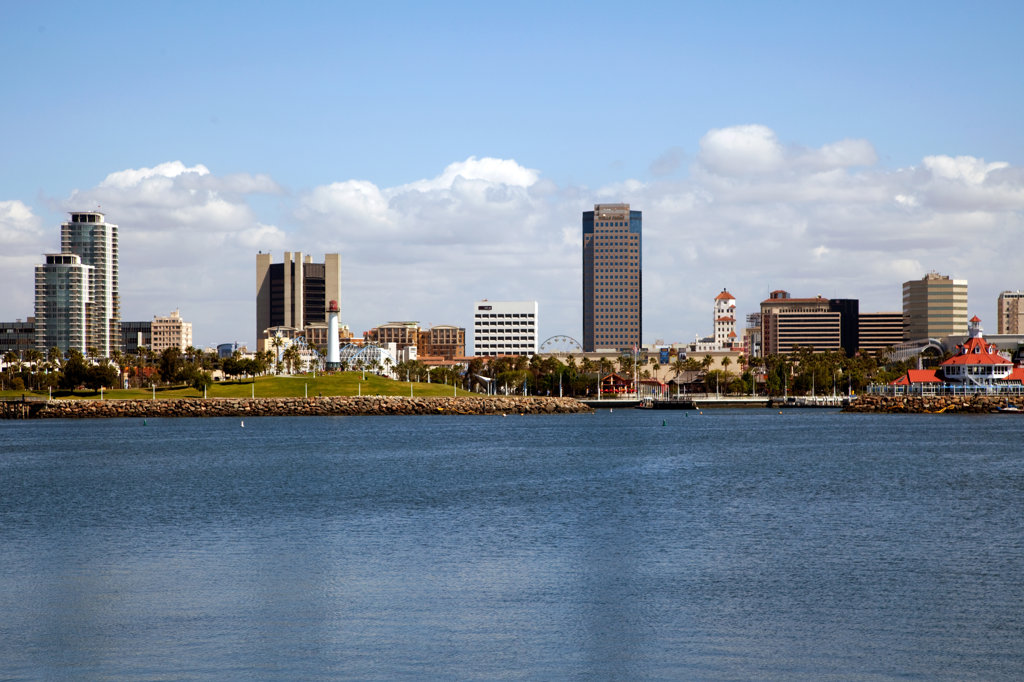 Stock Photo: 4017-2704 Skyscrapers at the waterfront, Long Beach, Los Angeles River, Los Angeles County, California, USA