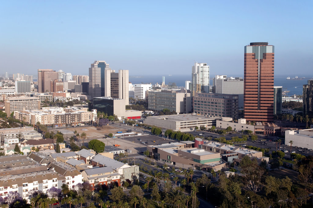 Stock Photo: 4017-2713 Aerial view of a cityscape, Long Beach, Los Angeles County, California, USA