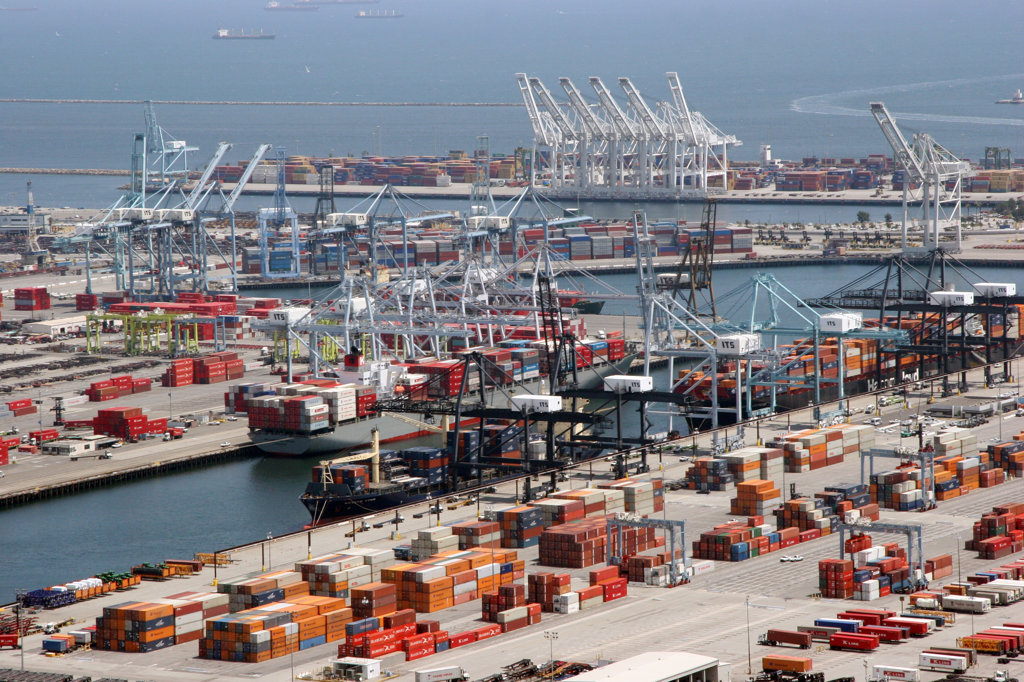 Stock Photo: 4017-2735 Aerial view of shipping containers at a port, Port Of Los Angeles, Long Beach, Los Angeles County, California, USA