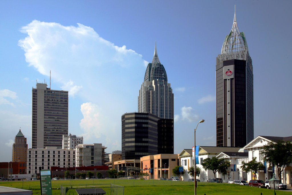 Stock Photo: 4017-2736 Skyscrapers in a city, RSA Battle House Tower, Mobile, Alabama, USA