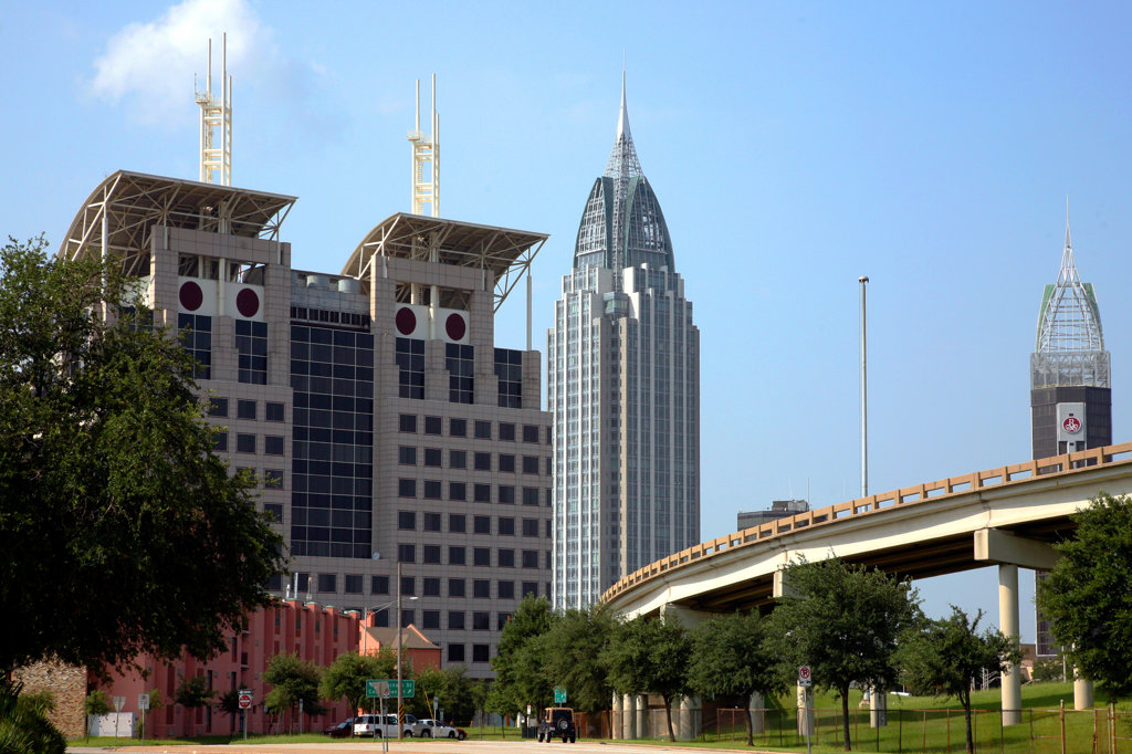 Skyscrapers in a city, Alabama Judicial Building, RSA Battle House Tower, Mobile, Alabama, USA : Stock Photo