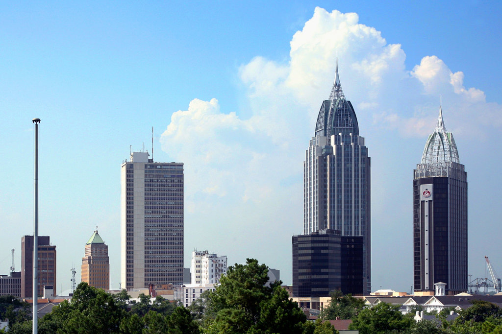 Stock Photo: 4017-2740 Skyscrapers in a city, RSA Battle House Tower, Mobile, Alabama, USA