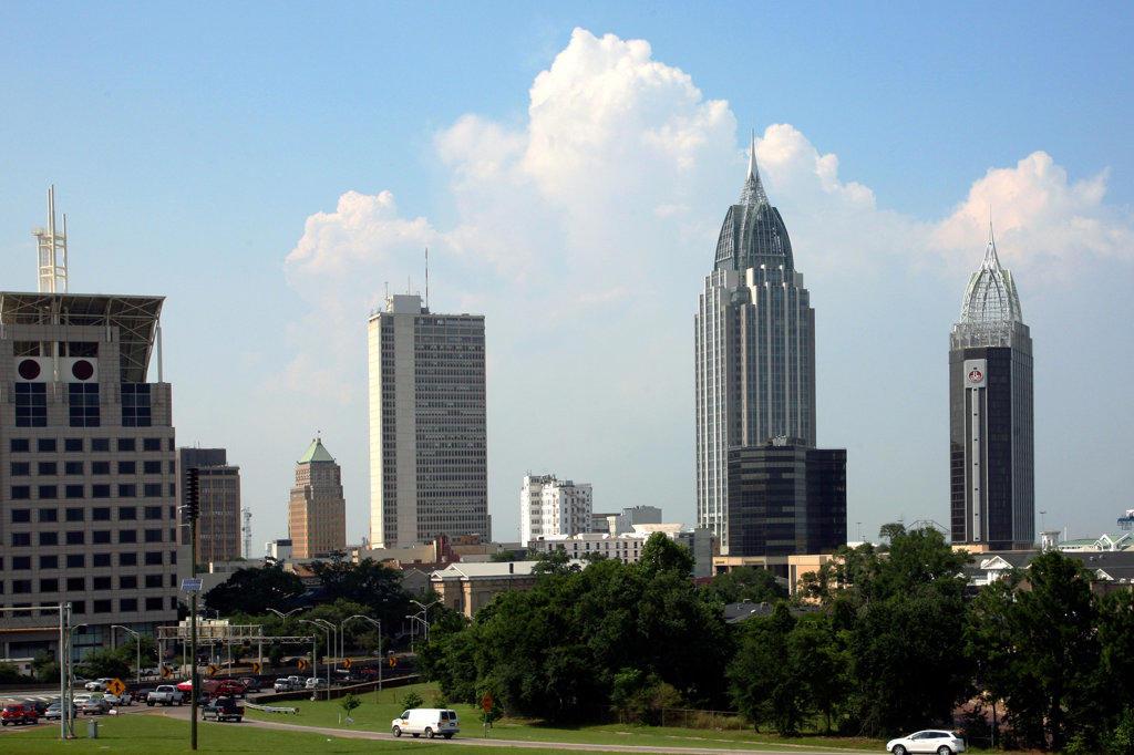 Stock Photo: 4017-2743 Skyscrapers in a city, Alabama Judicial Building, RSA Battle House Tower, Mobile, Alabama, USA