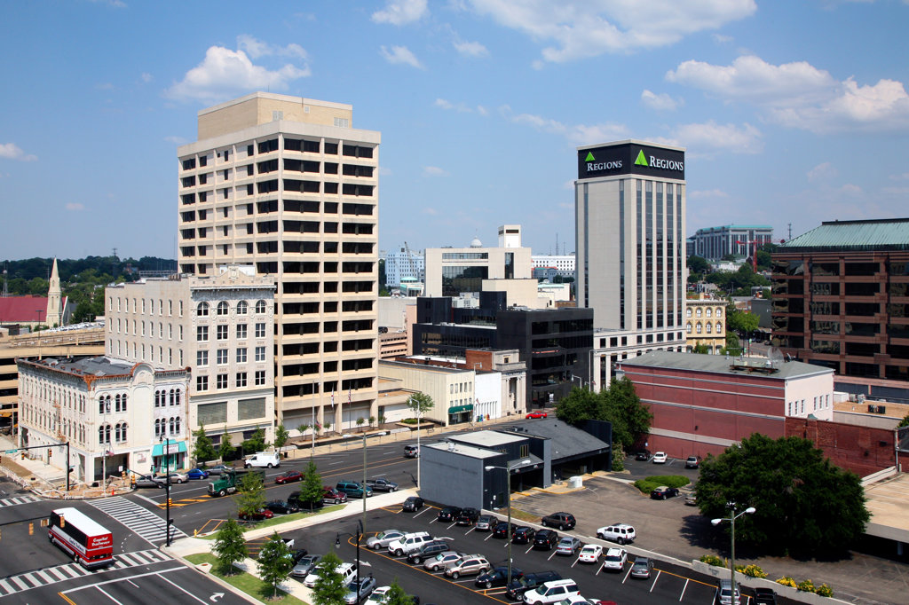 Aerial view of a cityscape, Regions Center, Montgomery, Alabama, USA : Stock Photo