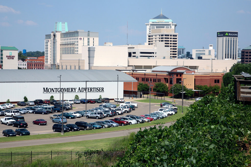 Skyscrapers in a city, Montgomery Advertiser, Montgomery, Alabama, USA : Stock Photo