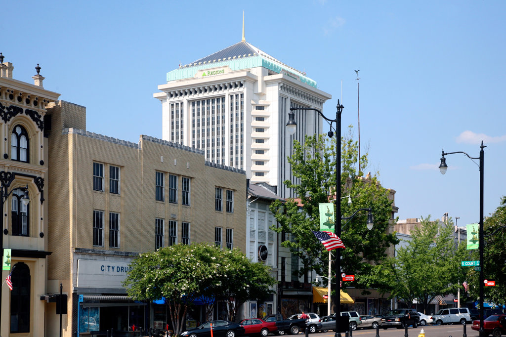 Buildings in a city, RSA Tower, Montgomery, Alabama, USA : Stock Photo