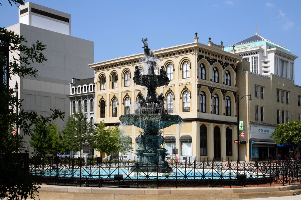 Stock Photo: 4017-2756 Fountain in city court square, Montgomery, Alabama, USA