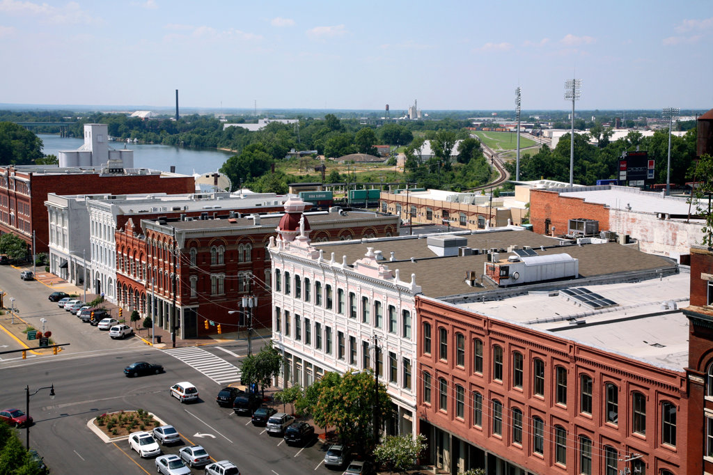 Stock Photo: 4017-2758 Buildings in a city with the Alabama River in the background, Montgomery, Alabama, USA