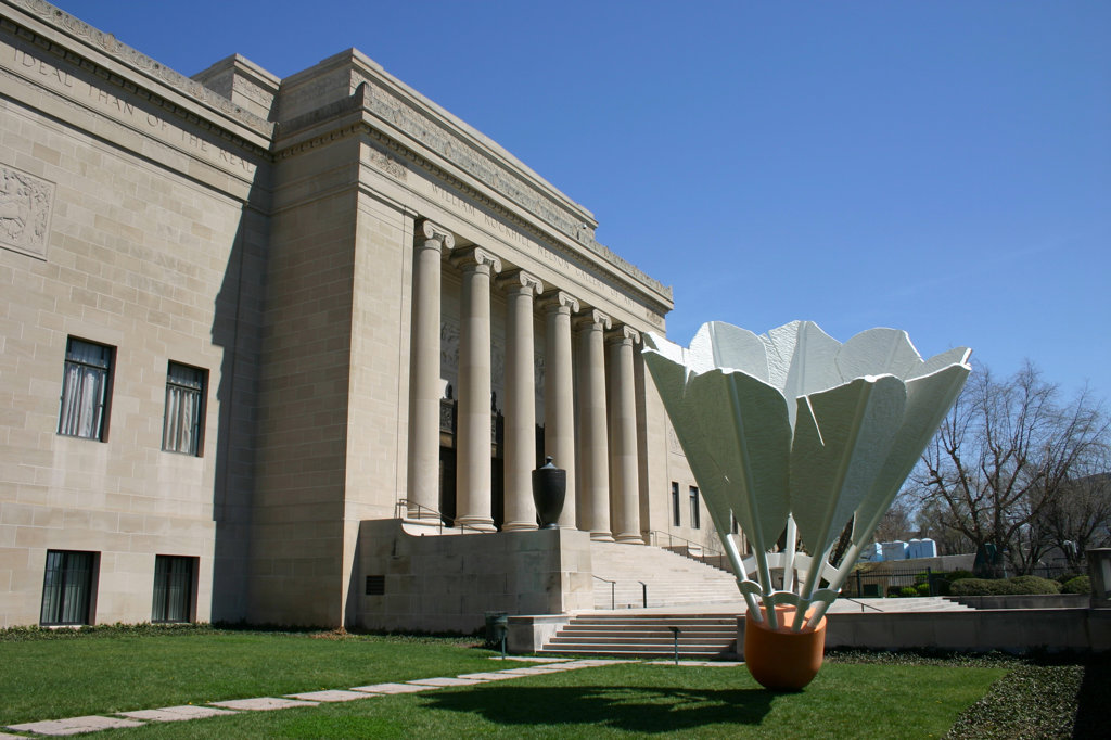 Shuttlecock art sculpture at the Nelson Atkins Museum of Art, Kansas City, Missouri, USA : Stock Photo