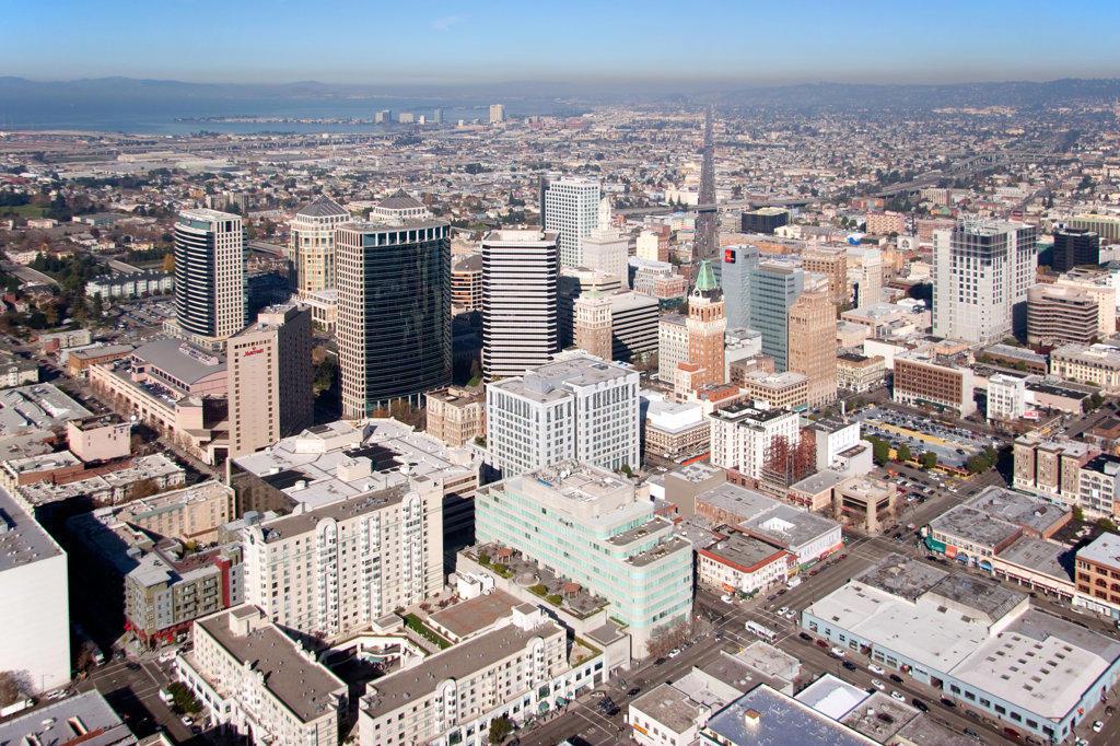 Stock Photo: 4017-2769 Aerial view of a city, Tribune Tower, San Pablo Avenue, Oakland, California, USA