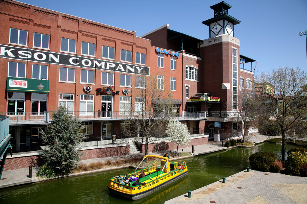Tourboats in Bricktown on San Antonio's RiverWalk, Oklahoma City, Oklahoma, USA : Stock Photo