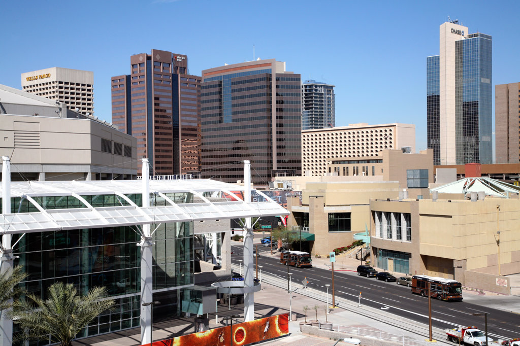 Stock Photo: 4017-2835 Skyscrapers in a city, Phoenix Convention Center, Phoenix, Arizona, USA
