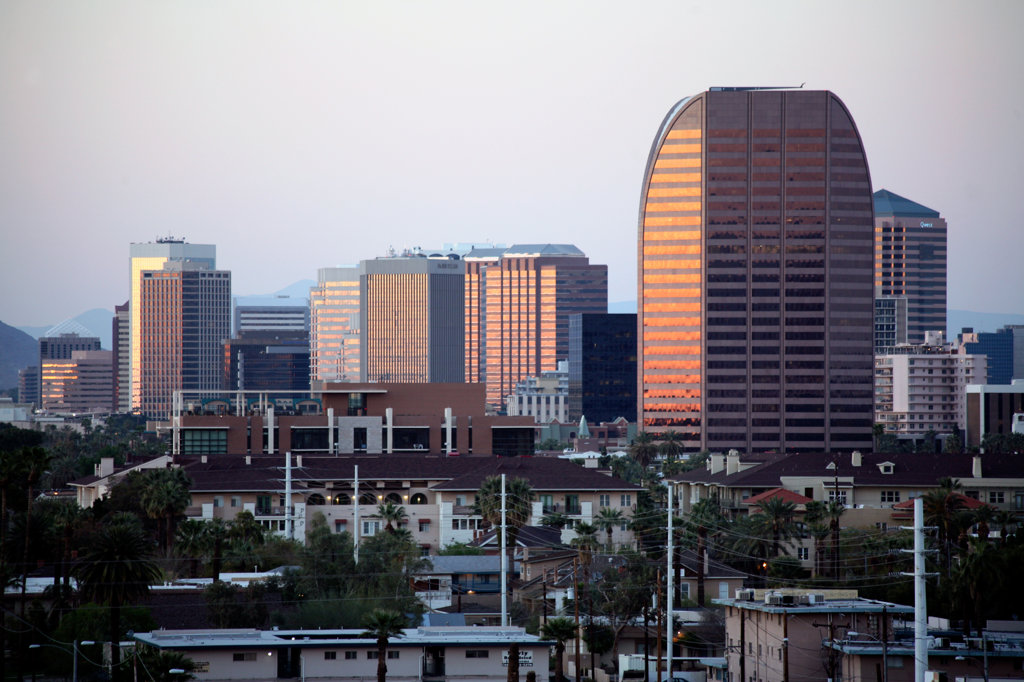 Stock Photo: 4017-2850 Skyscrapers in a city, Phoenix, Arizona, USA