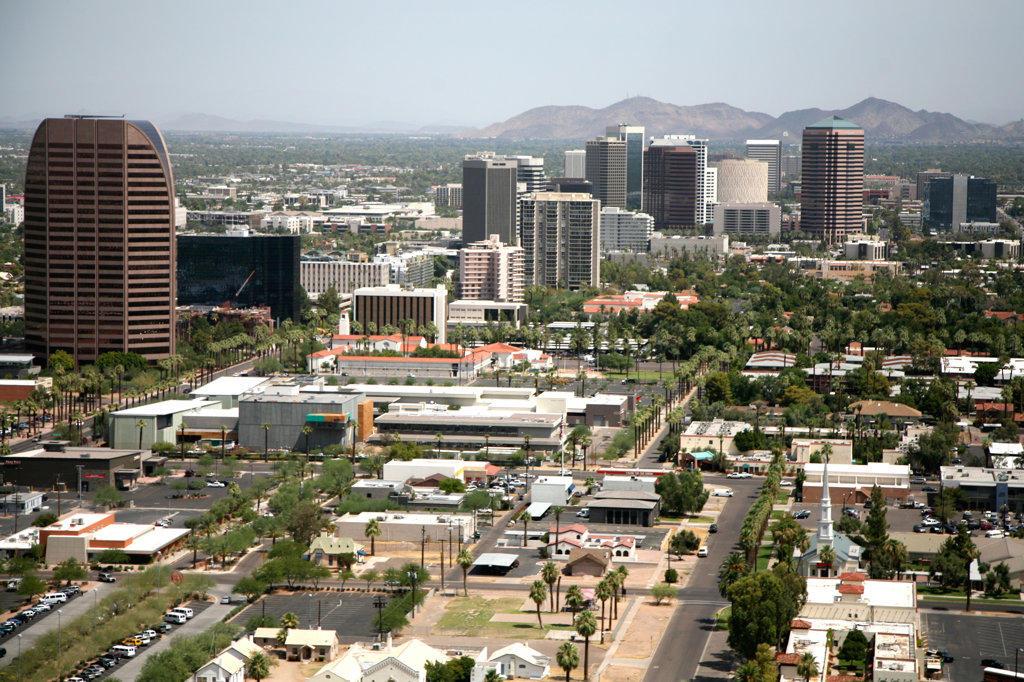 Stock Photo: 4017-2886 Skyscrapers in a city, Phoenix, Arizona, USA