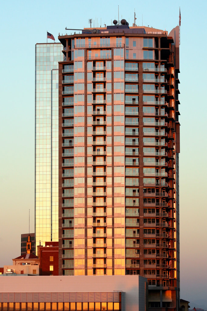 Stock Photo: 4017-2887 Low angle view of a tower, Condo Tower, Phoenix, Arizona, USA