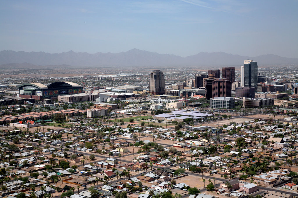 Stock Photo: 4017-2902 Aerial view of a cityscape, Phoenix, Arizona, USA