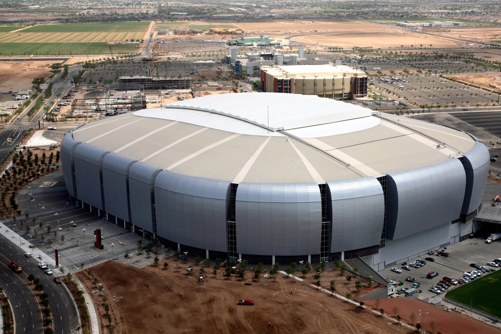 Aerial view of a stadium, University of Phoenix Stadium, Glendale, Phoenix, Arizona, USA : Stock Photo