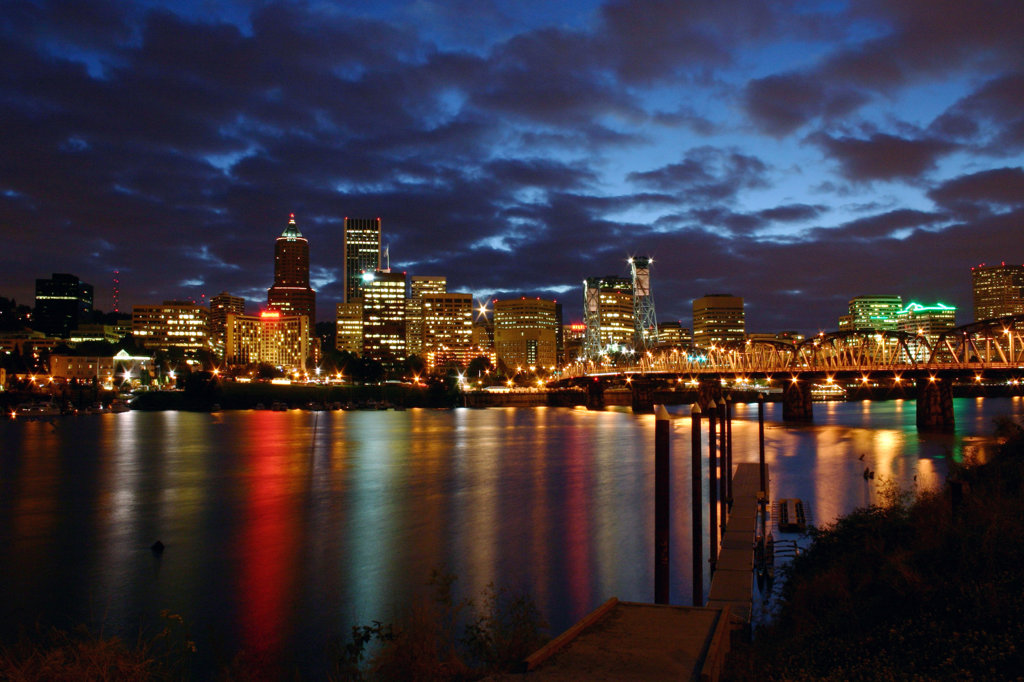 Stock Photo: 4017-2907 Downtown Portland skyline and the Hawthorne Bridge from across the Willamette River at night, Oregon, USA