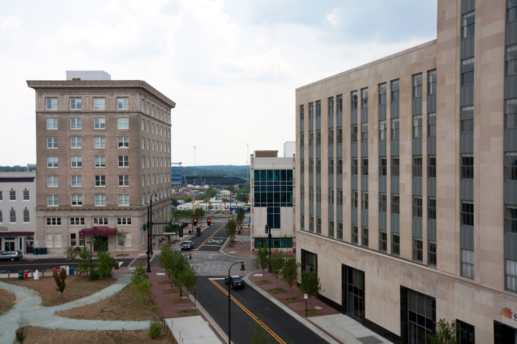 Stock Photo: 4017-2924 Buildings in a city, Durham, North Carolina, USA