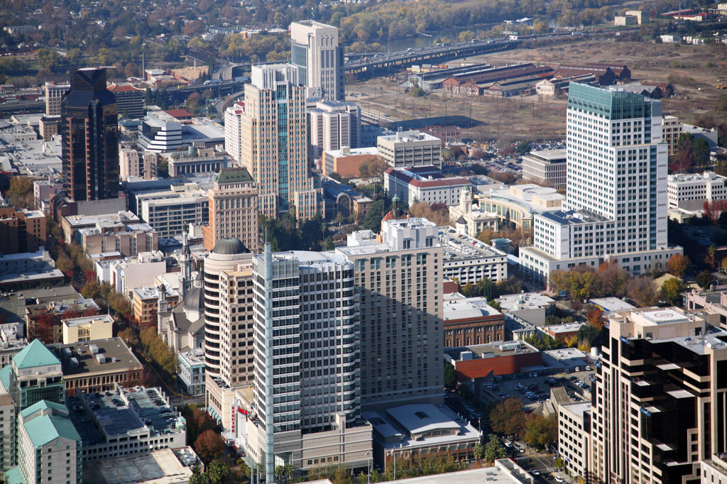 Stock Photo: 4017-2939 Aerial view of a city, Sacramento, California, USA