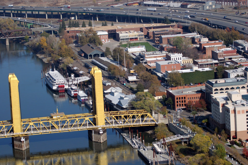 Stock Photo: 4017-2947 Aerial view of a bridge, Tower Bridge, Sacramento River, Sacramento, California, USA