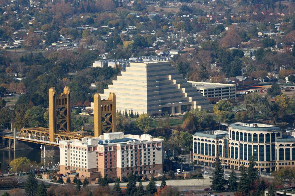 Stock Photo: 4017-2956 Aerial view of a city, Tower Bridge, Sacramento, California, USA