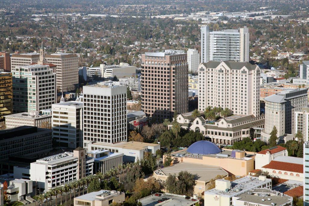 Stock Photo: 4017-2961 Aerial view of a city, Fairmount Hotel, Paseo, San Jose, California, USA