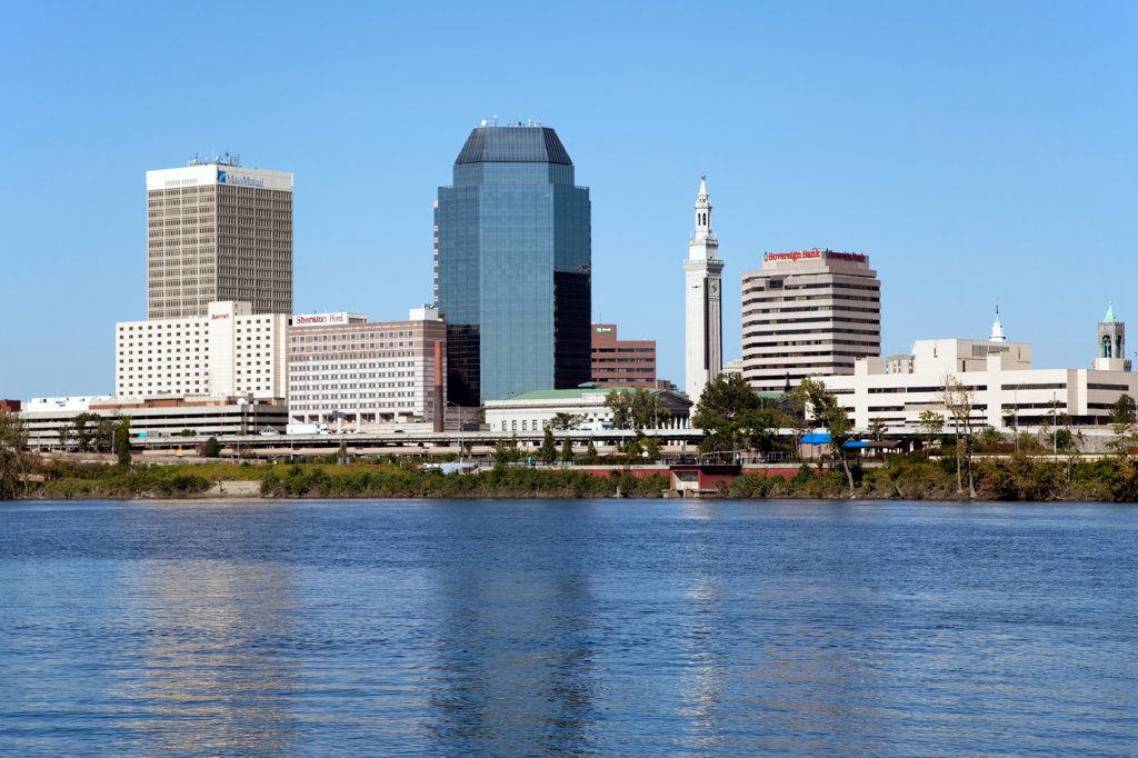 Stock Photo: 4017-2982 Downtown skyline of Springfield, Massachusetts from the Connecticut River, USA