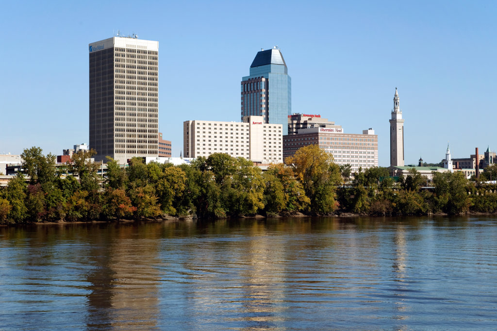 Stock Photo: 4017-2985 Downtown skyline of Springfield, Massachusetts from the Connecticut River, USA