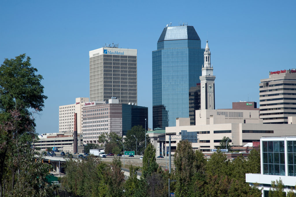 Stock Photo: 4017-2986 Downtown skyline of Springfield, Massachusetts, USA
