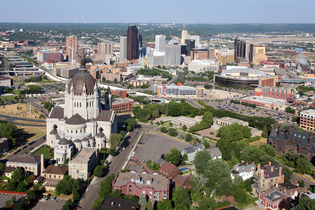 Aerial view of a city, Cathedral of St. Paul, St. Paul, Minnesota, USA : Stock Photo