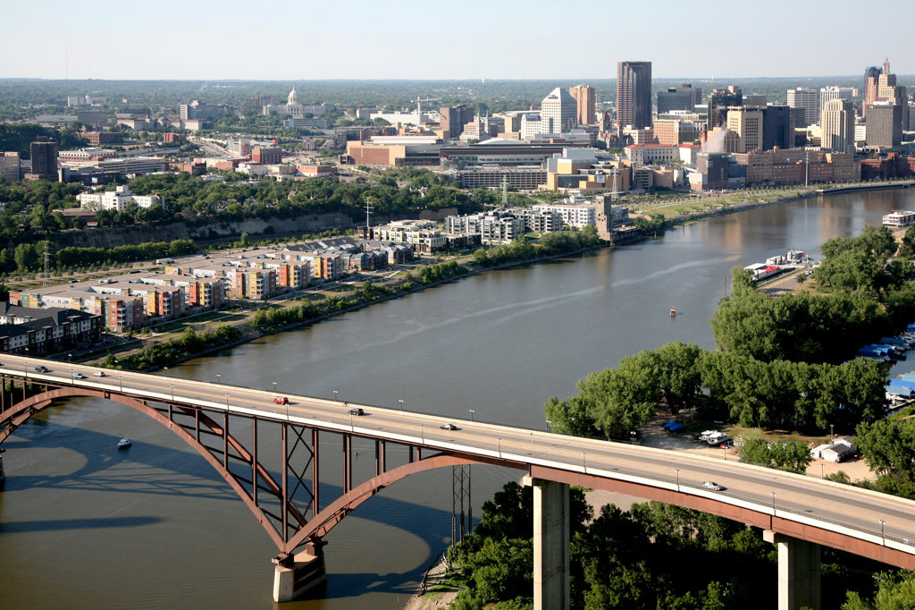 Stock Photo: 4017-3010 Aerial view of the bridge across the river with buildings in the background, High Bridge, Mississippi River, St. Paul, Minnesota, USA