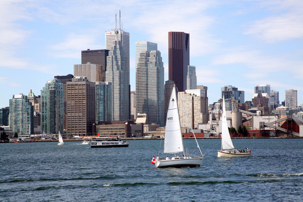 Sailboats in front of buildings at the waterfront, Lake Ontario, Toronto, Ontario, Canada : Stock Photo