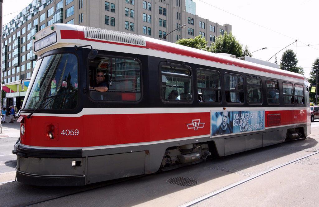 Stock Photo: 4017-3072 Toronto Light Rail going to Union Station, Toronto, Ontario, Canada