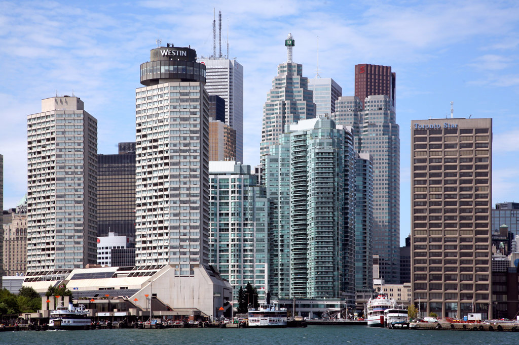 Stock Photo: 4017-3073 Buildings at the waterfront, Lake Ontario, Toronto, Ontario, Canada